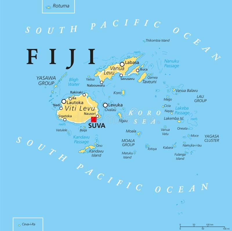 Fiji Polityczna mapa ilustracji