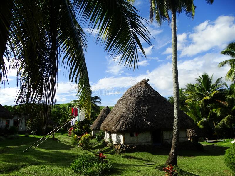 Fiji - traditional houses - bure at the Navala village stock images