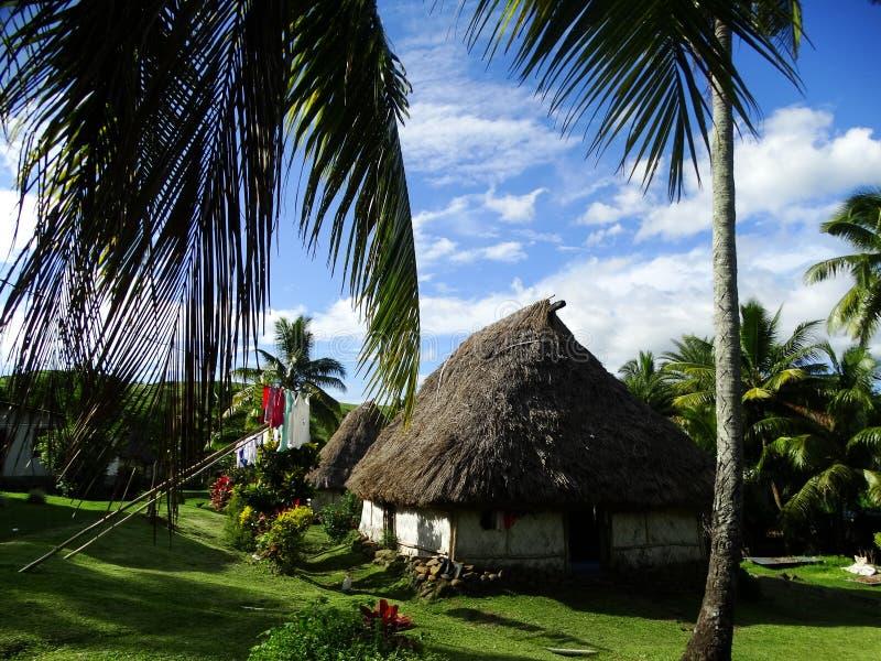 Fiji - traditional houses - bure at the Navala village stock photography