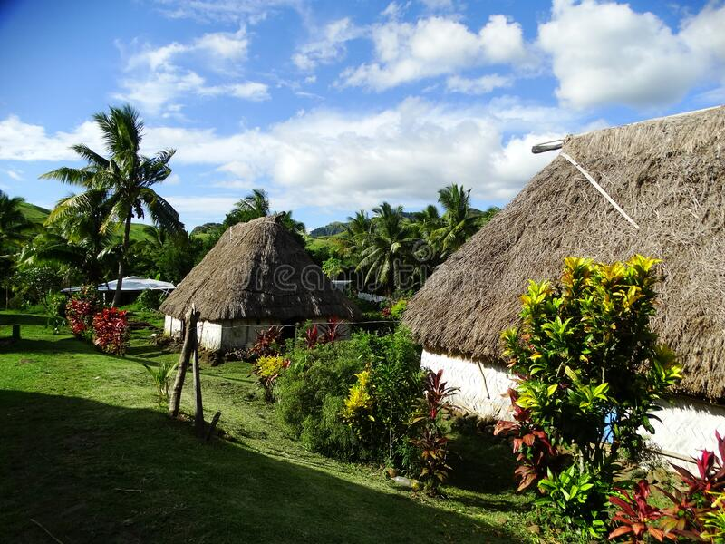 Fiji - traditional houses - bure at the Navala village royalty free stock images
