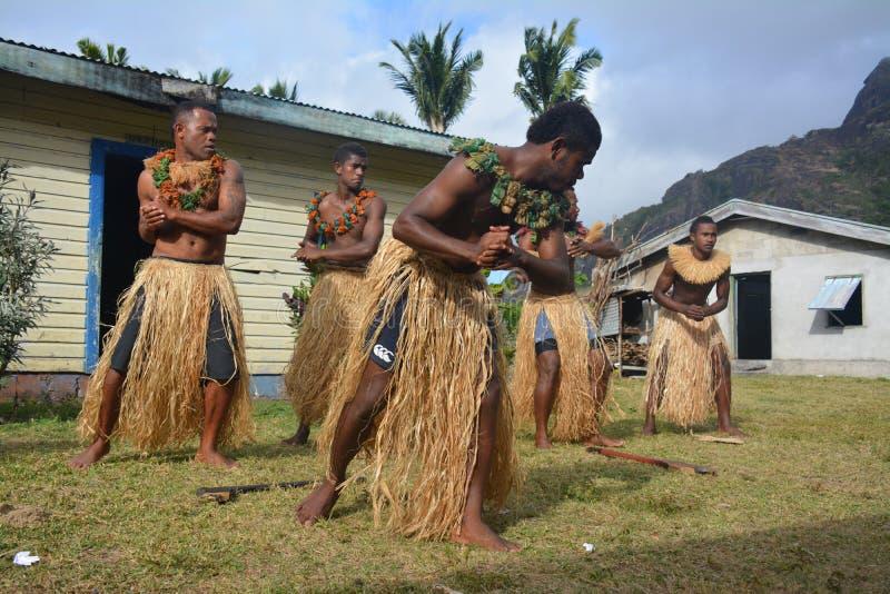 Fijian inheemse dansers royalty-vrije stock afbeelding