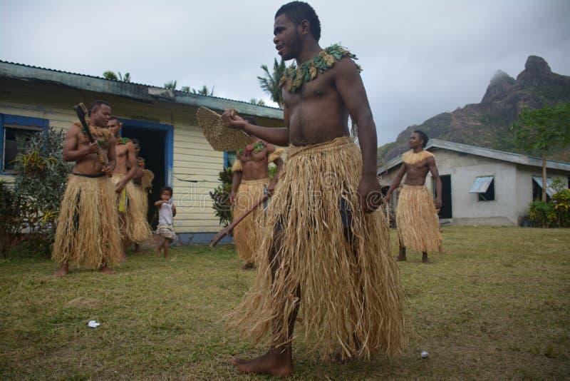 Fijian inheemse dansers royalty-vrije stock afbeeldingen