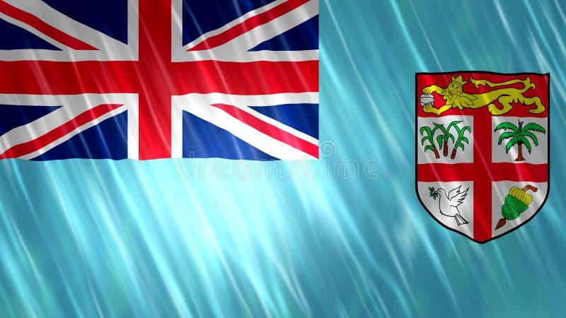 Fijiansk flagga stock illustrationer