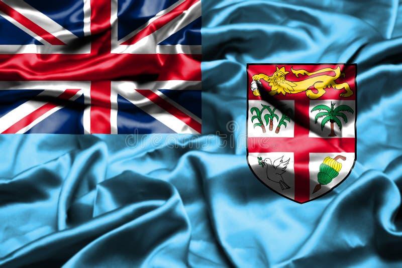 Fijiansk flagga som vinkar i vinden stock illustrationer