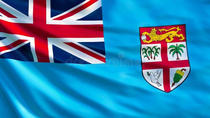 Fijiansk flagga Vinkande flagga av den fijianska illustrationen 3d stock illustrationer