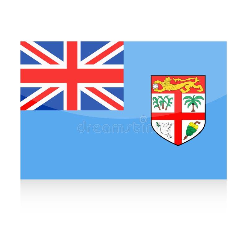 Fijiansk flaggavektorsymbol royaltyfri illustrationer