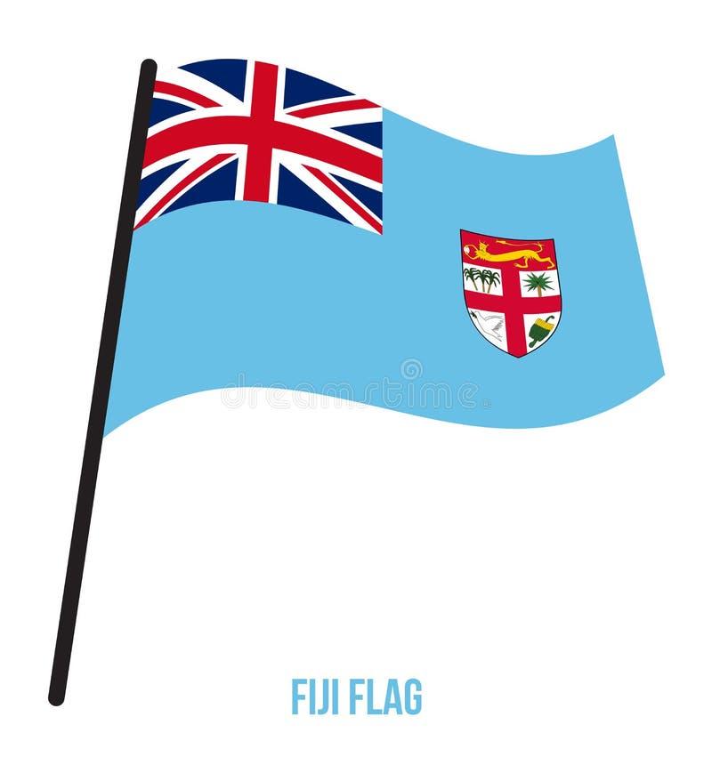 Fijiansk illustration för vinkande vektor för flagga på vit bakgrund Fijiansk nationsflagga vektor illustrationer