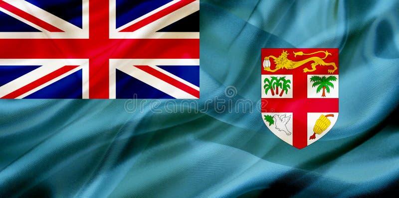 Fijiansk landsflagga på siden- eller silkeslen vinkande textur stock illustrationer