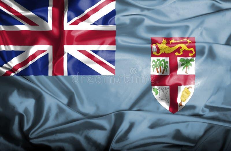 Fijiansk vinkande flagga royaltyfri illustrationer