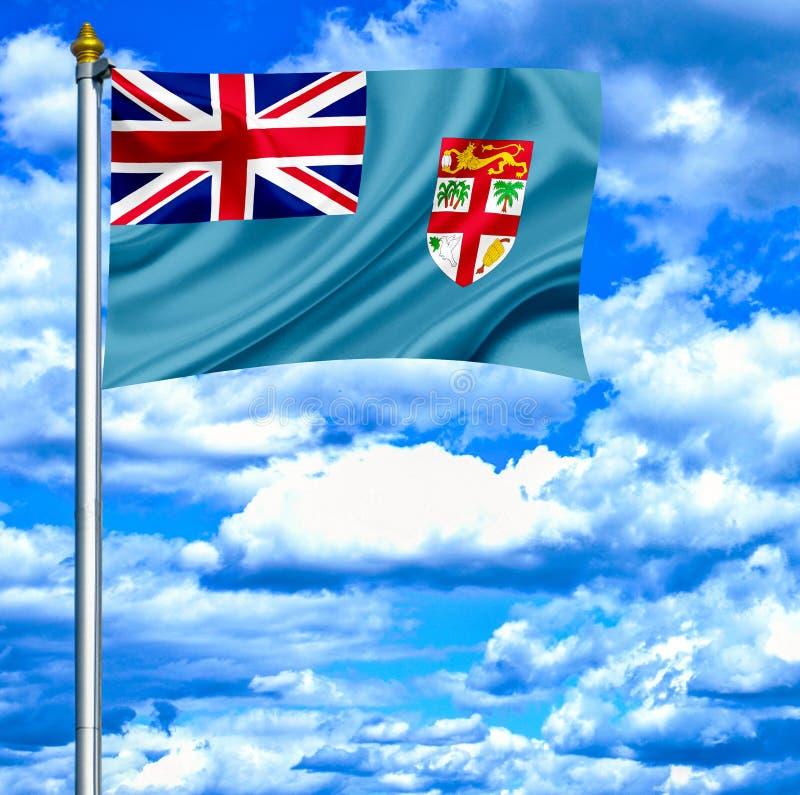 Fijiansk vinkande flagga mot blå himmel royaltyfri illustrationer