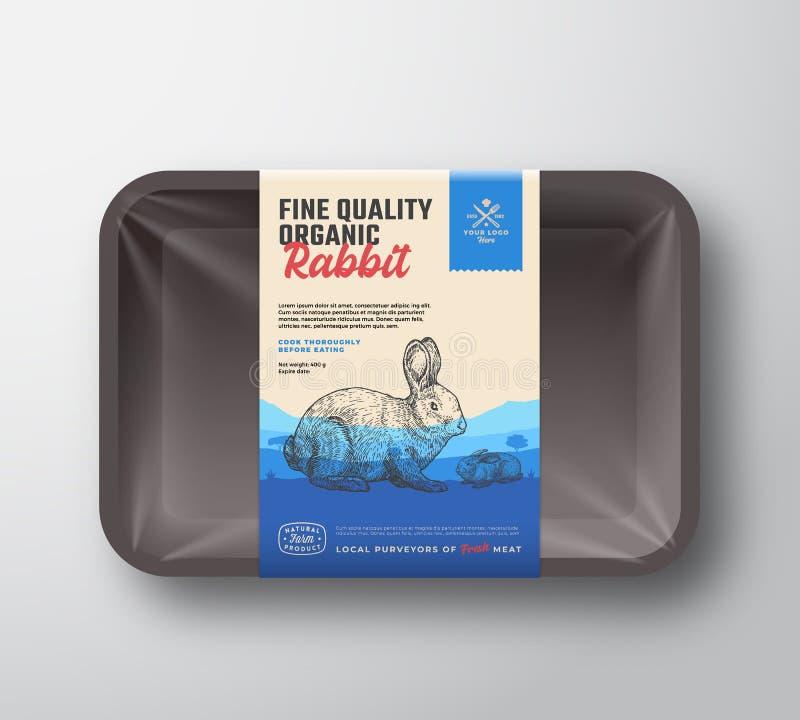 Fijn Kwaliteits Organisch Konijn Abstract Vectorvlees Plastic Tray Container met Cellofaandekking Verticale Verpakking vector illustratie