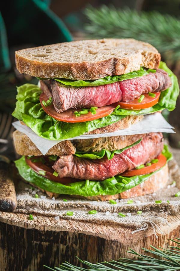 Fijne boterham met verse groenten en rundvlees stock foto's