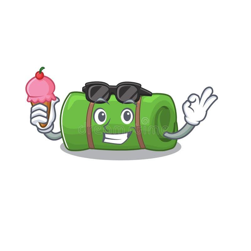 Fijne cartoon van kamperende mat Scroll met ijsje stock illustratie