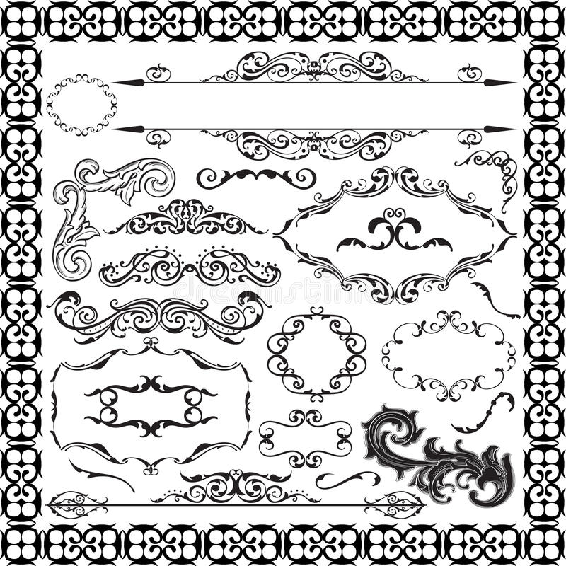 Fijne decor overladen barokke reeks vector illustratie