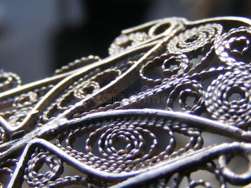 Fijne details op ijzeromheining filigraan stock foto