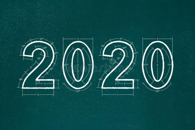 Fijne feestdagen 2020 BlauwdrukNieuw jaar 2020 Achtergrond schets van het karton royalty-vrije illustratie