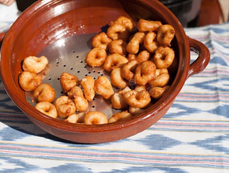Fijne geroepen doughnuts uit Majorca bunjols royalty-vrije stock fotografie