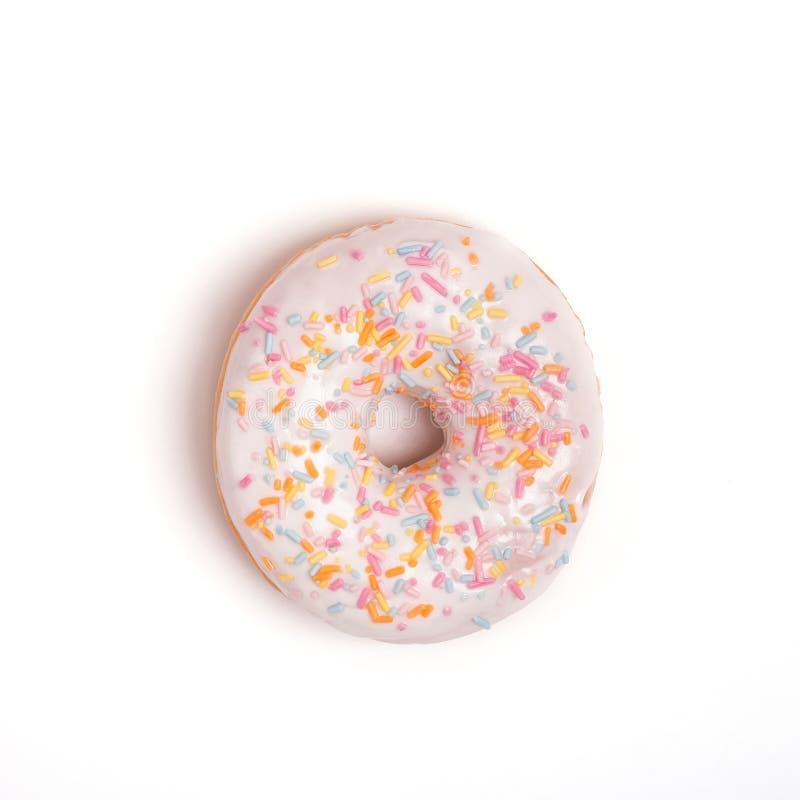 Fijne glazen donut met sproeiers op de witte achtergrond royalty-vrije stock foto
