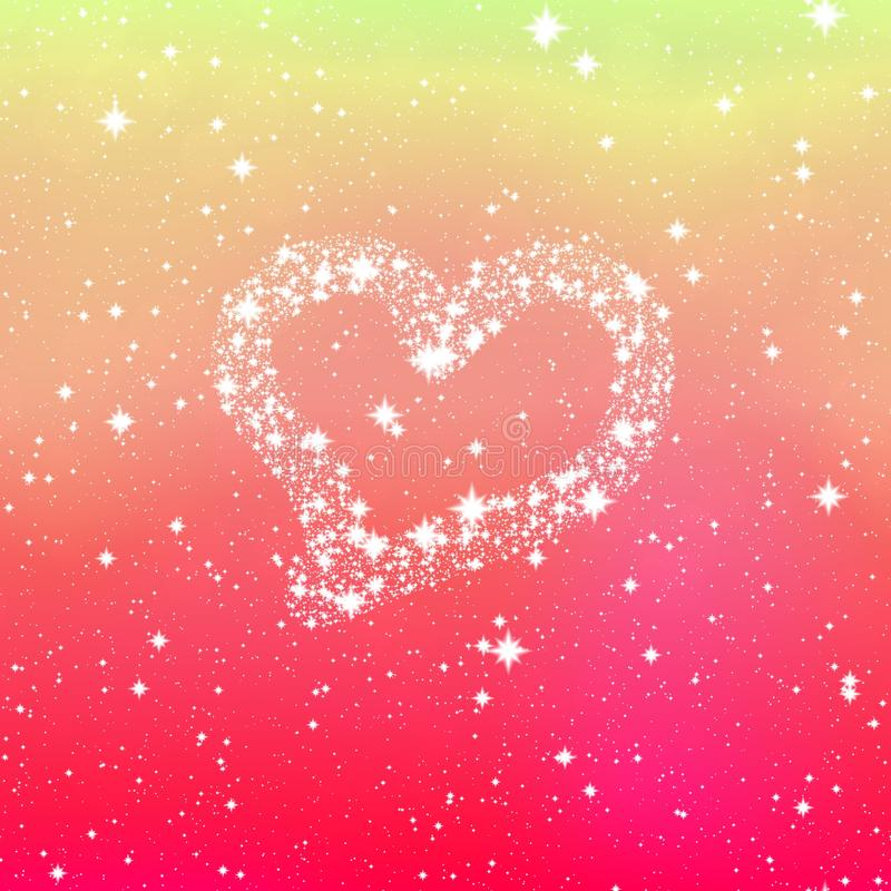 Fijne kleine het fonkelen makende witte hartvorm vector illustratie