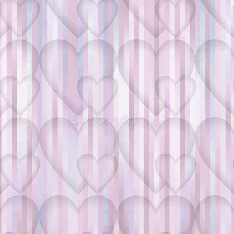 Fijne lage tegenover elkaar stellende achtergrond in roze en grijs met hartmotief op gestreept gebied royalty-vrije illustratie