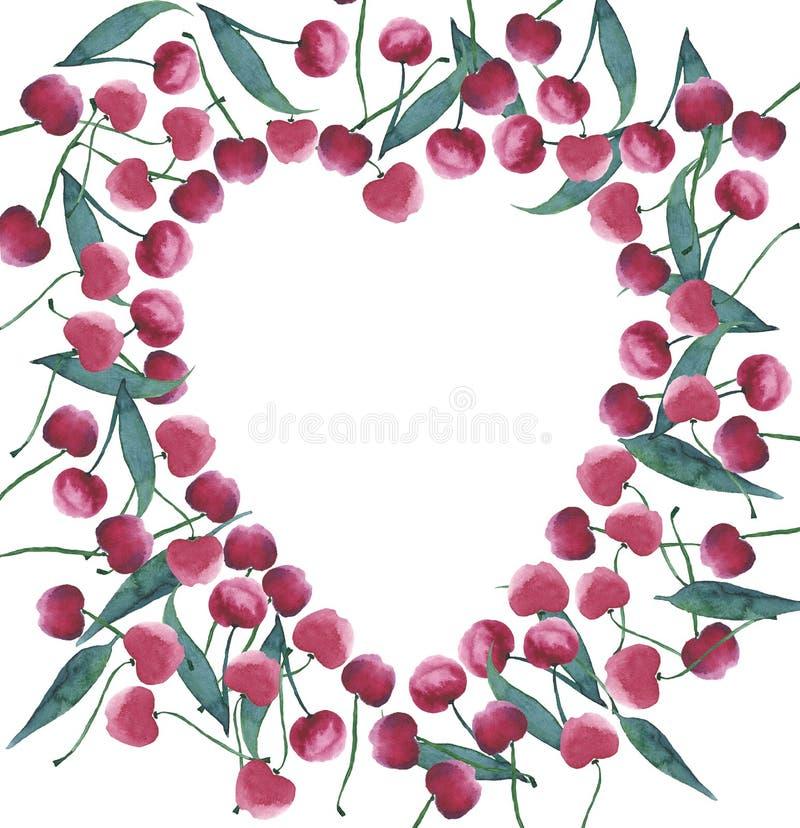 Fijne mooie romantische mooie gevoelige ring zoals hart van rijpe sappige donkerrode kersen royalty-vrije illustratie