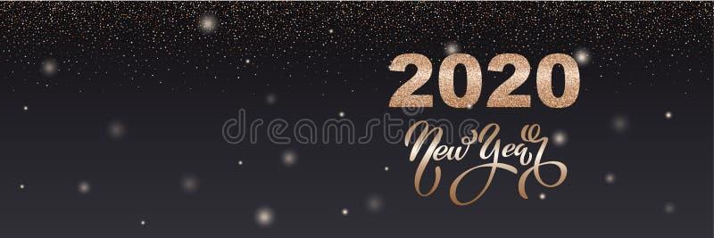 Fijne nieuwe jaarspandoek Vector illustratie van een gelukkig nieuw jaar in goud en zwarte kleuren Mooie inscriptie Achtergrond v royalty-vrije stock fotografie