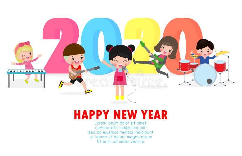 Fijne nieuwjaars 2020-wenskaart met schattige kinderen spelen muzikaal en dansen Vrolijk kerstfeest van de kinderen Symbool, vlie vector illustratie