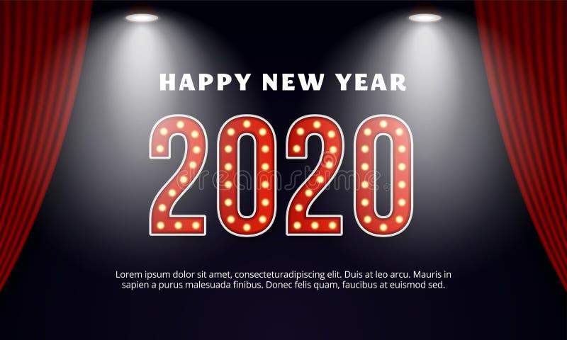 Fijne nieuwjaarsdag 2020 op de billboard-typografie Achtergrond van het rode gordijntoneel met spotlight vector illustratie