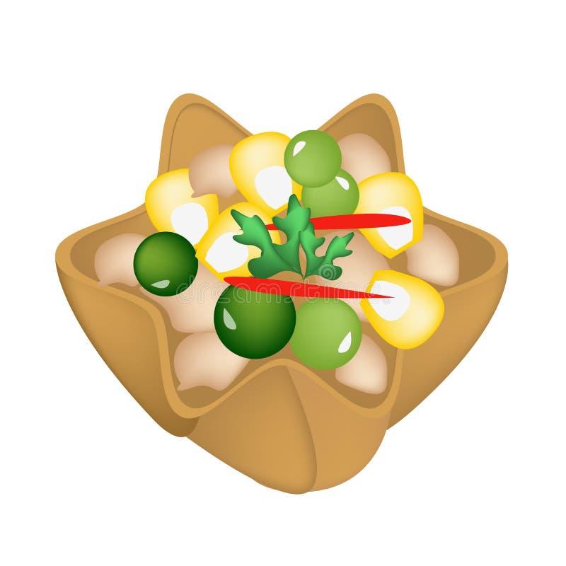 Fijngehakte Kip en Suikermaïs in Knapperige Gouden Kop royalty-vrije illustratie