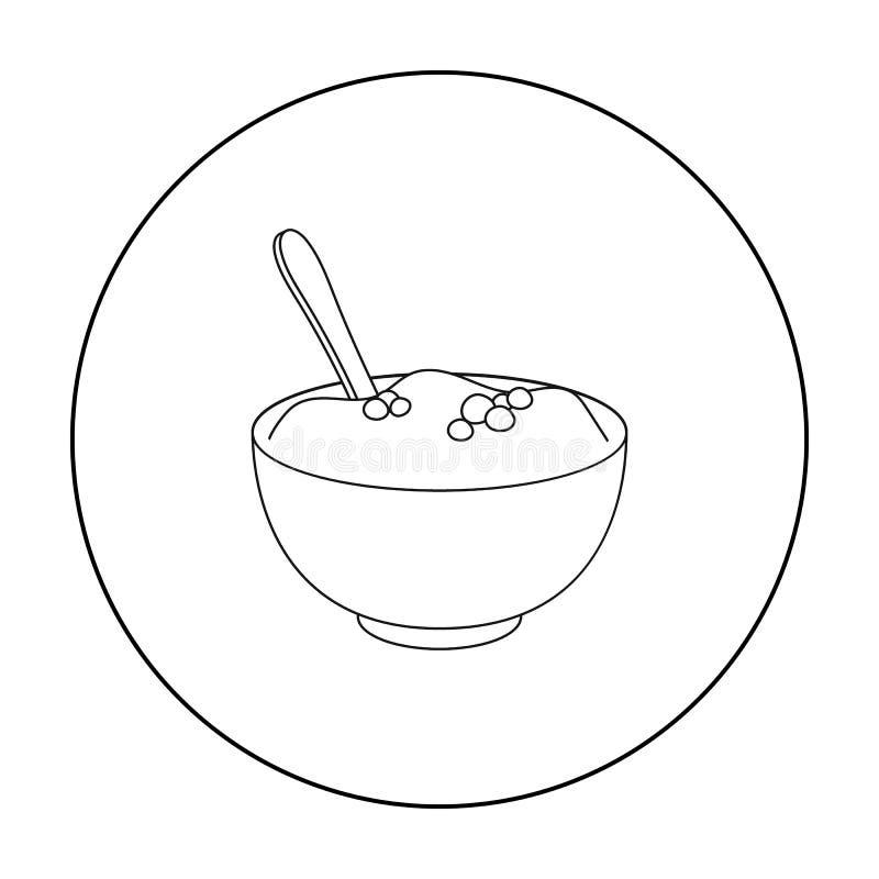 Fijngestampt die aardappelspictogram in overzichtsstijl op witte achtergrond wordt geïsoleerd Canadese de voorraadvector van het  stock illustratie