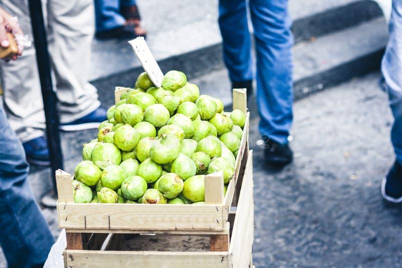 Fikonträd i fruktmarknaden, Catania, Sicilien, Italien arkivbilder