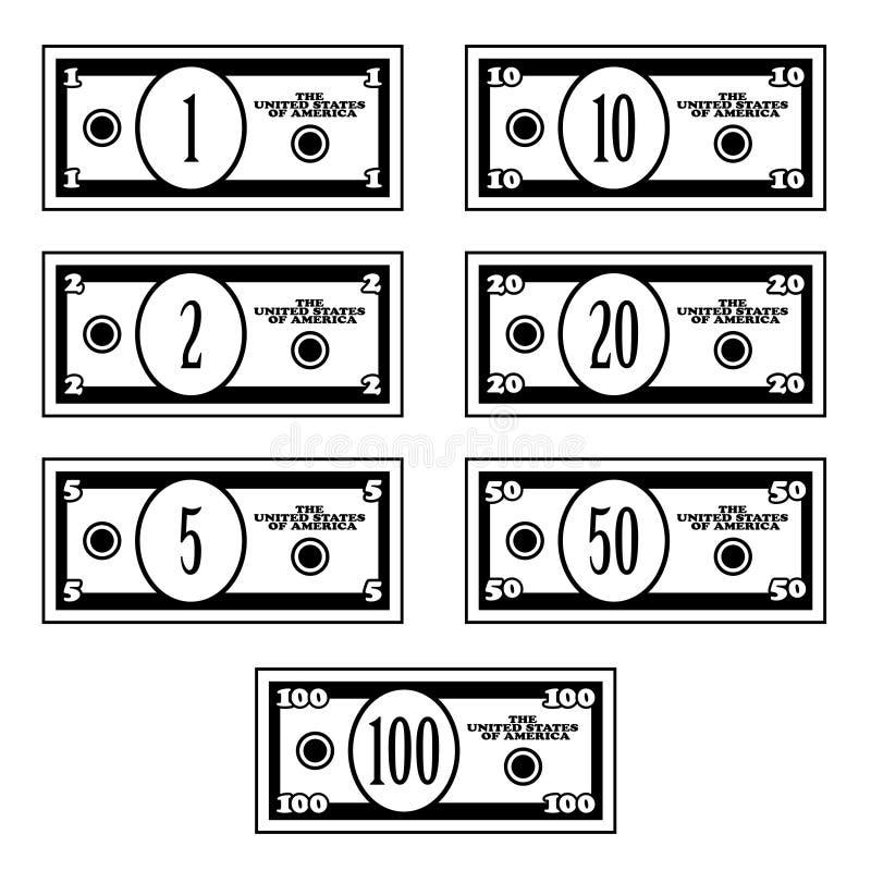 Fiktive schwarze weiße Dollarbanknoten vektor abbildung