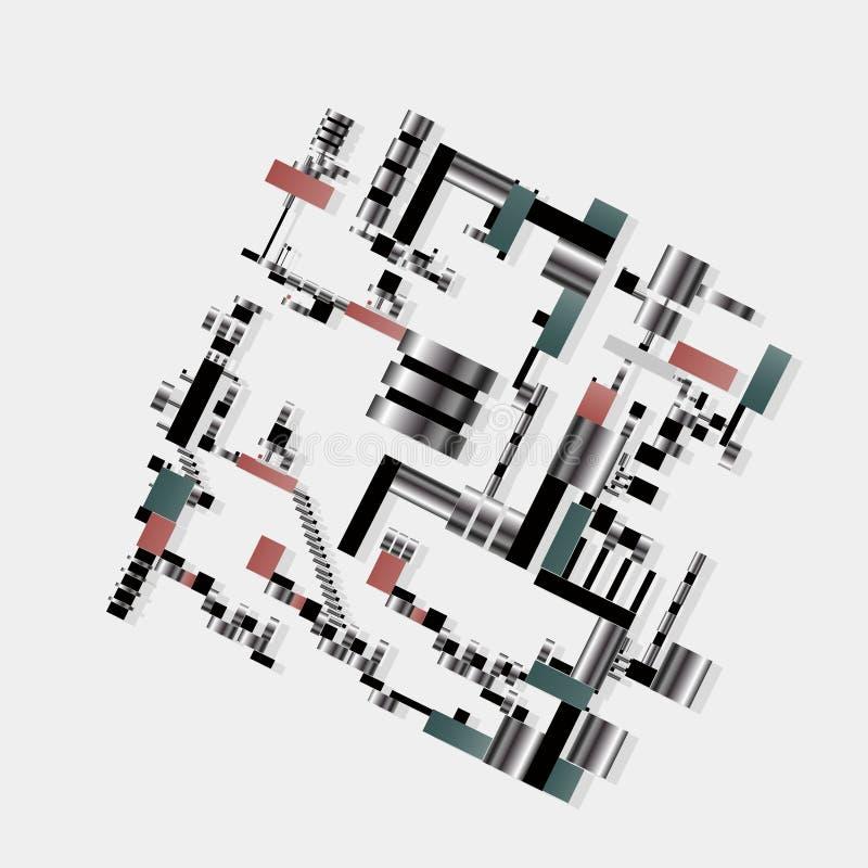 Fiktivt för geometrisk fabrik för teknik för Digital abstraktion bildande vetenskapligt industriell teknologisk royaltyfri illustrationer