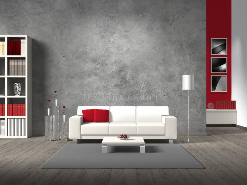 Fiktivt vardagsrum med den vita sofaen stock illustrationer