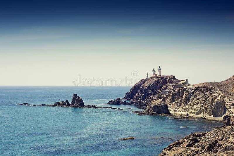 Filón de las sirenas situado en el Cabo de Gata imagen de archivo