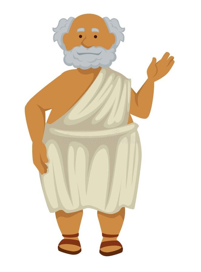 Filósofo griego en traje y hombre mayor aislado sandalias libre illustration