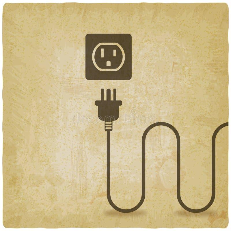 Fil électrique avec la prise près du vieux fond de débouché illustration stock
