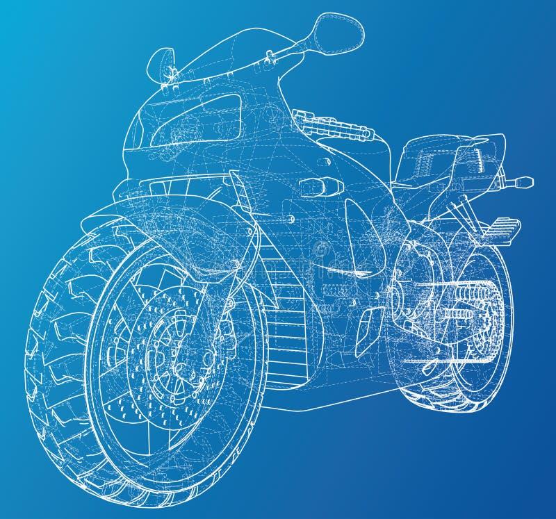 Fil-cadre technique de moto de sport Illustration de vecteur Illustration de découverte de 3d illustration de vecteur