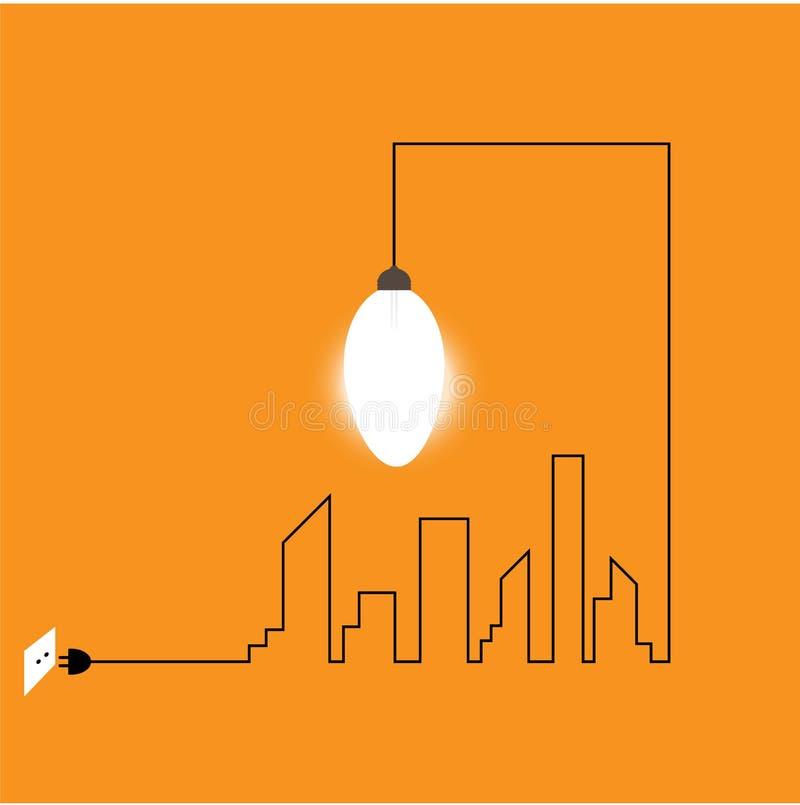 Fil créatif d'ampoule avec des bâtiments et des points de repère, idée illustration libre de droits