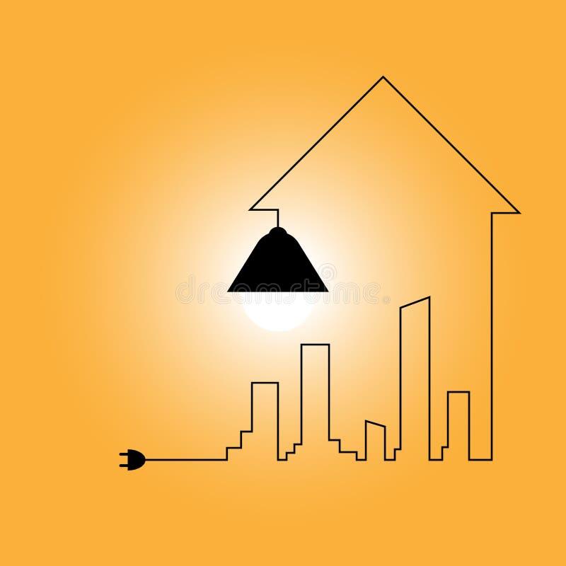 Fil créatif d'ampoule avec des bâtiments et des points de repère, idée illustration de vecteur
