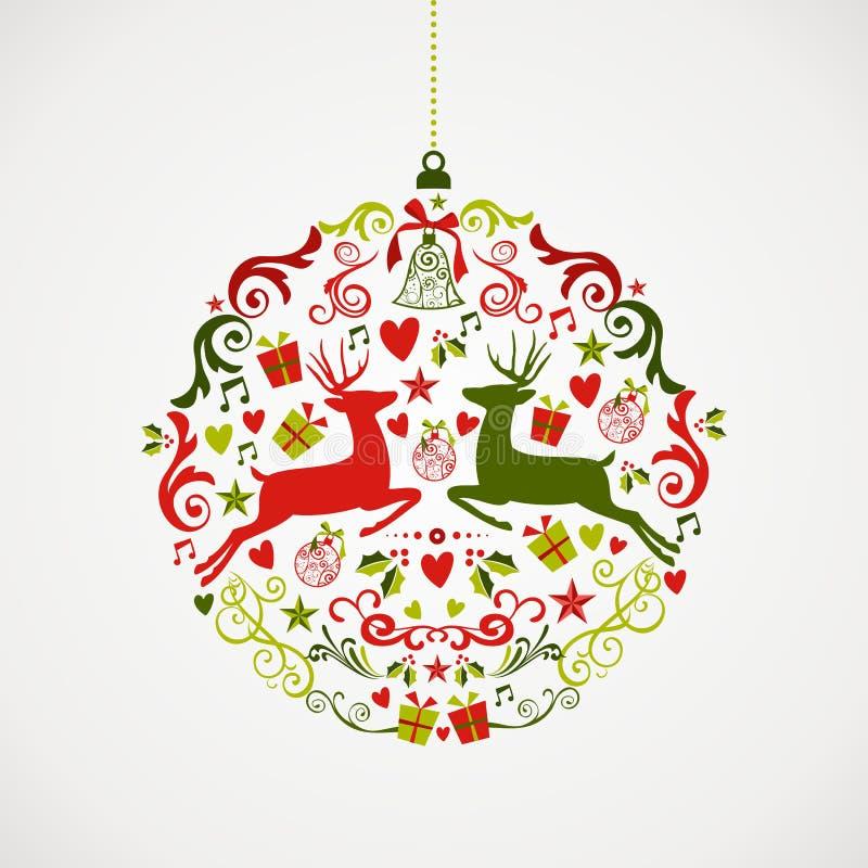 Fil d'annata di progettazione EPS10 della bagattella degli elementi di Natale illustrazione di stock