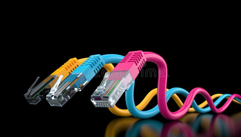 Fil de réseau coloré par trois illustration stock