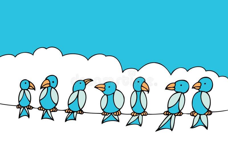 fil de téléphone d'oiseaux illustration de vecteur