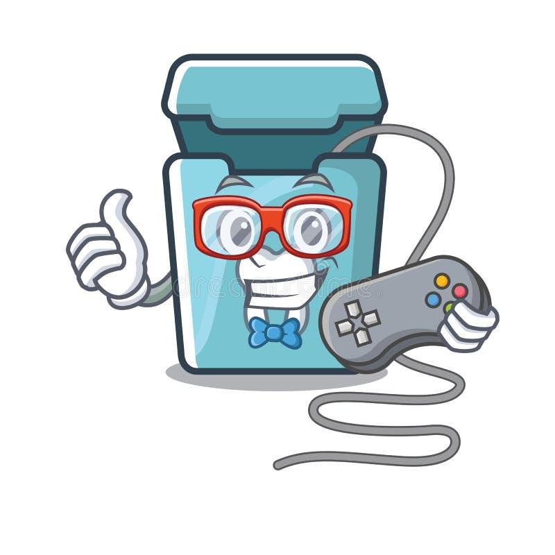 Fil dentaire de Gamer dans une boîte de mascotte illustration stock
