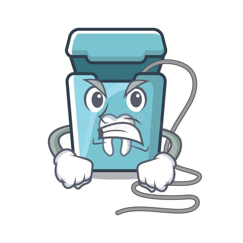 Fil dentaire fâché dans une boîte de mascotte illustration stock