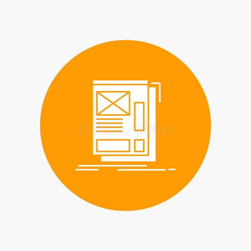 fil, encadrant, Web, disposition, icône blanche de Glyph de développement en cercle Illustration de bouton de vecteur illustration de vecteur