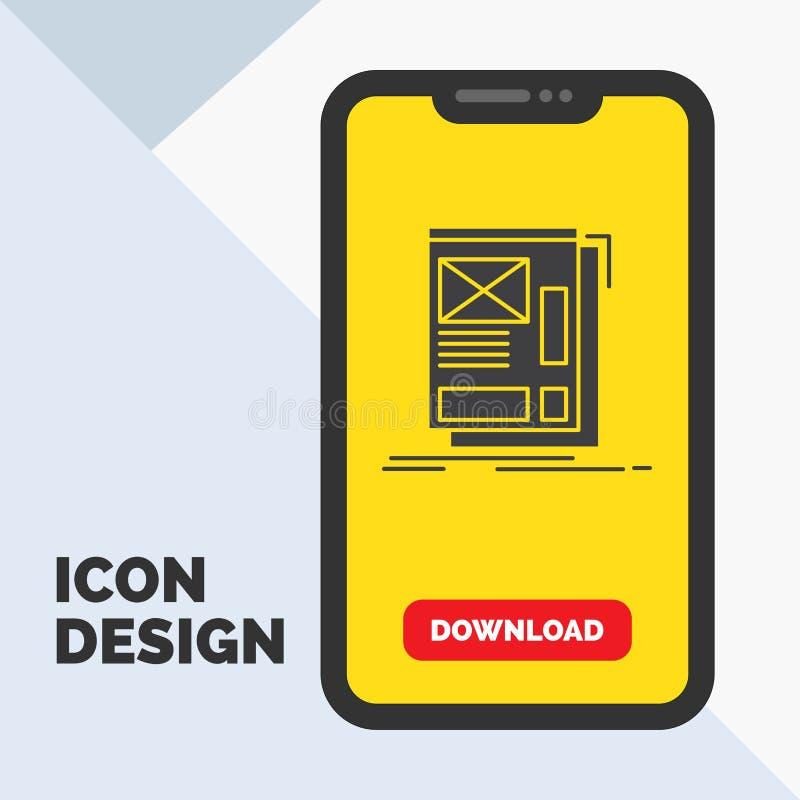fil, encadrant, Web, disposition, icône de Glyph de développement dans le mobile pour la page de téléchargement Fond jaune illustration stock
