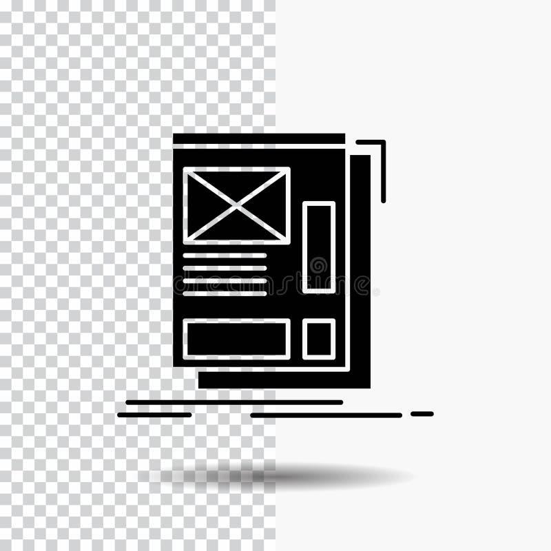 fil, encadrant, Web, disposition, icône de Glyph de développement sur le fond transparent Ic?ne noire illustration stock