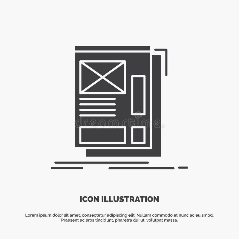 fil, encadrant, Web, disposition, ic?ne de d?veloppement symbole gris de vecteur de glyph pour UI et UX, site Web ou application  illustration stock