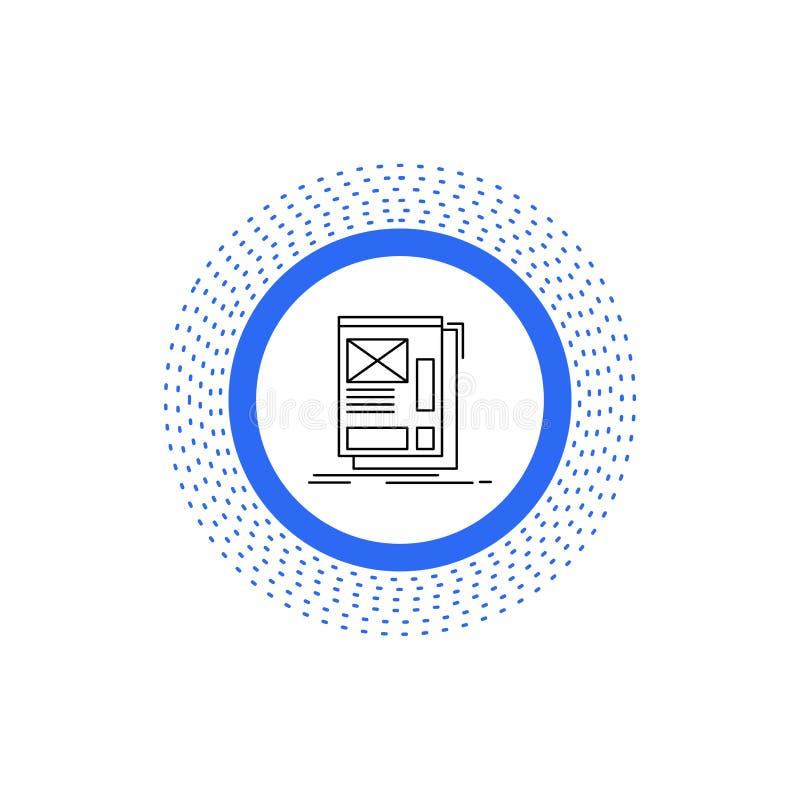 fil, encadrant, Web, disposition, ligne icône de développement Illustration d'isolement par vecteur illustration stock